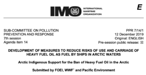 PPR 7-14-1 - Arctic Indigenous Support for the Ban of Heavy Fuel Oil in the Arctic