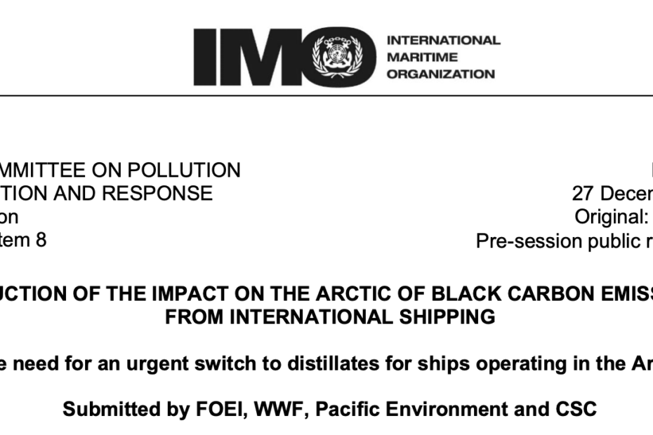 PPR 7/8/2: PPR7 Submission: The need for urgent action to stop the use of blended low sulphur residual fuels leading to increases in ship-source Black Carbon globally