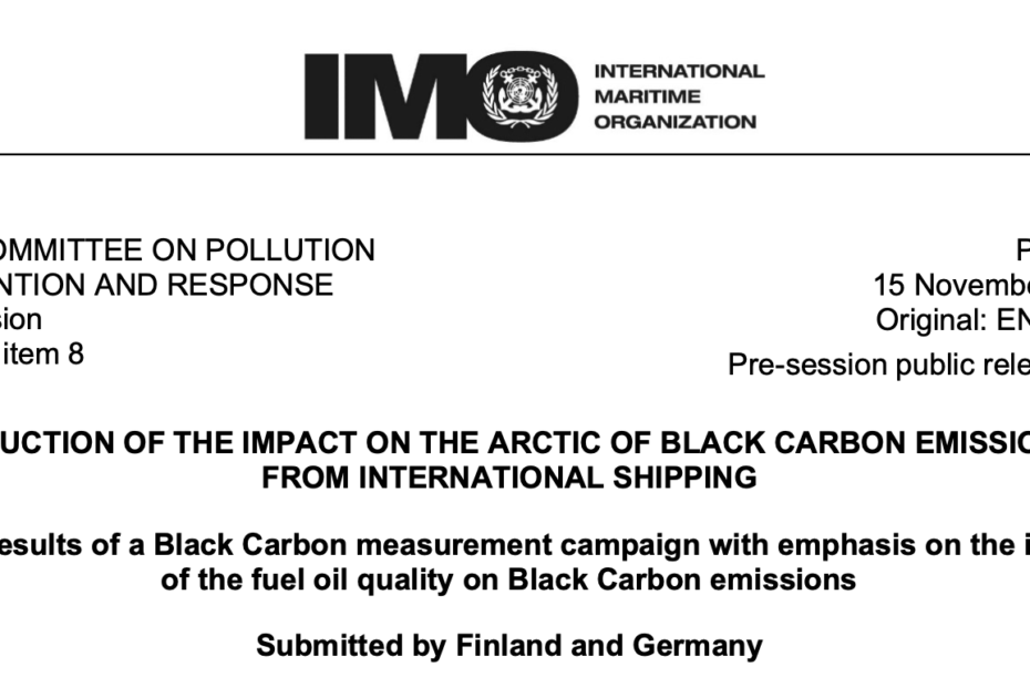 PPR 7/8: Initial results of a Black Carbon measurement campaign with emphasis on the impact of the fuel oil quality on Black Carbon emissions