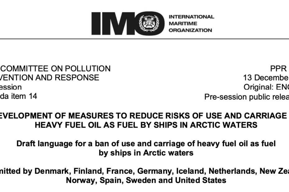 PPR 7-14-4 - Draft language for a ban of use and carriage of heavy fuel oil as fuel by ships in Arctic