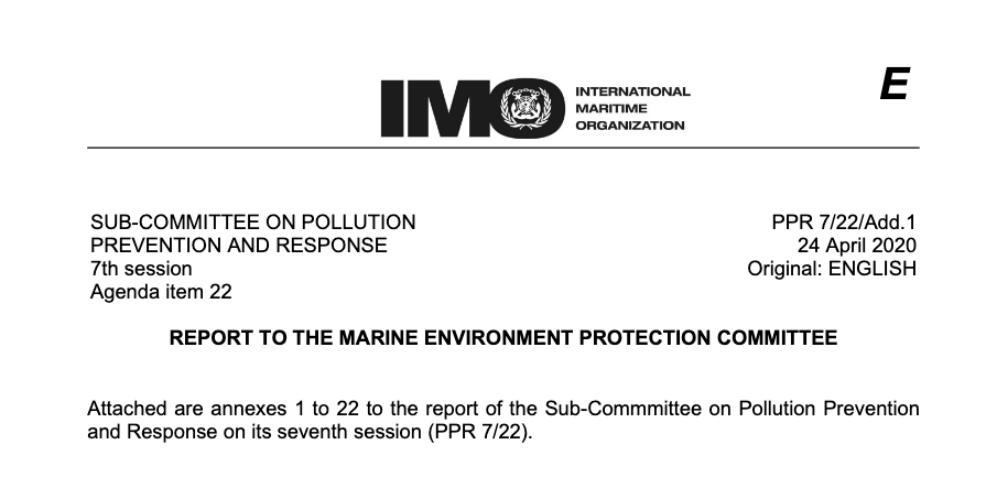 Report To The Marine Environment Protection Committee PPR 7/22/Add.1,