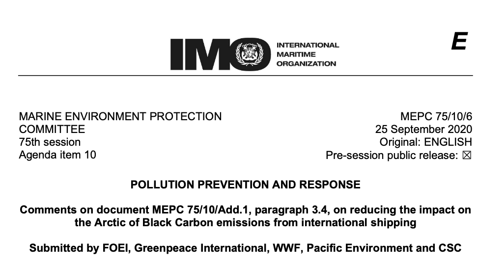 Comments on document MEPC 75/10/Add.1, paragraph 3.4, on reducing the impact on the Arctic of Black Carbon emissions from international shipping