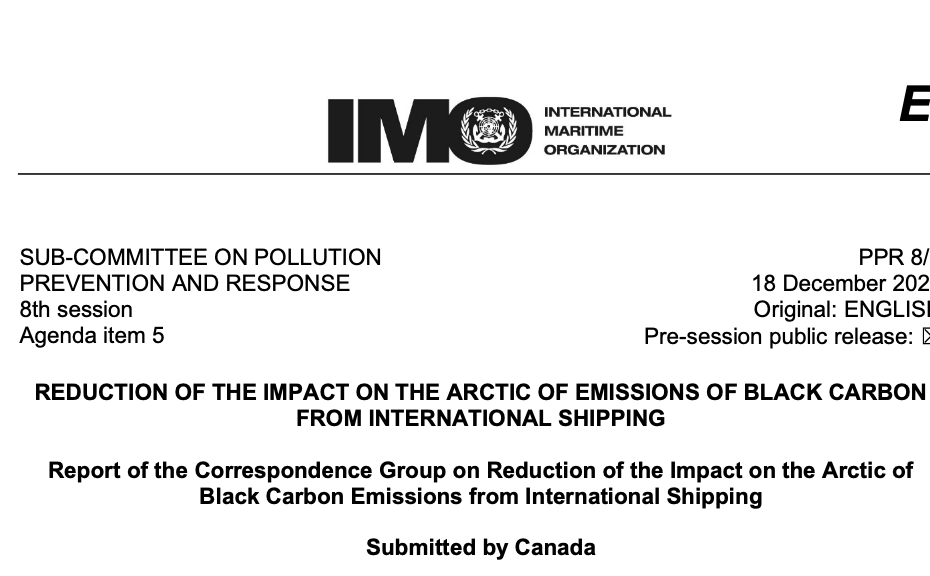PPR 8/5: report of the Correspondence Group on Reduction of the Impact on the Arctic of Black Carbon Emissions from International Shipping