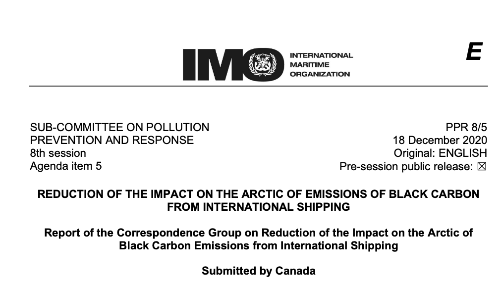 PPR 8-5 - Report of the Correspondence Group on Reduction of the Impact on the Arctic of Black Carbo... (Canada)