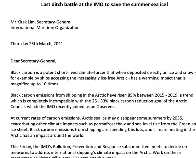 Open Letter to IMO Secretary-General Lim from the Clean Arctic Alliance_25 March 2021
