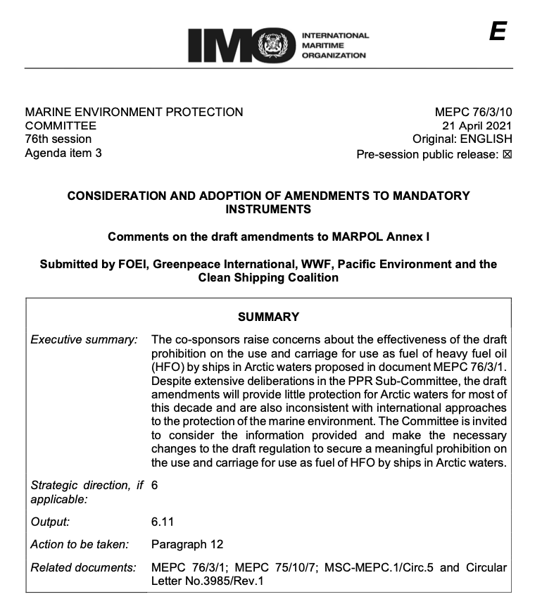 MEPC 76-3-10 - Comments on the draft amendments to MARPOL Annex I