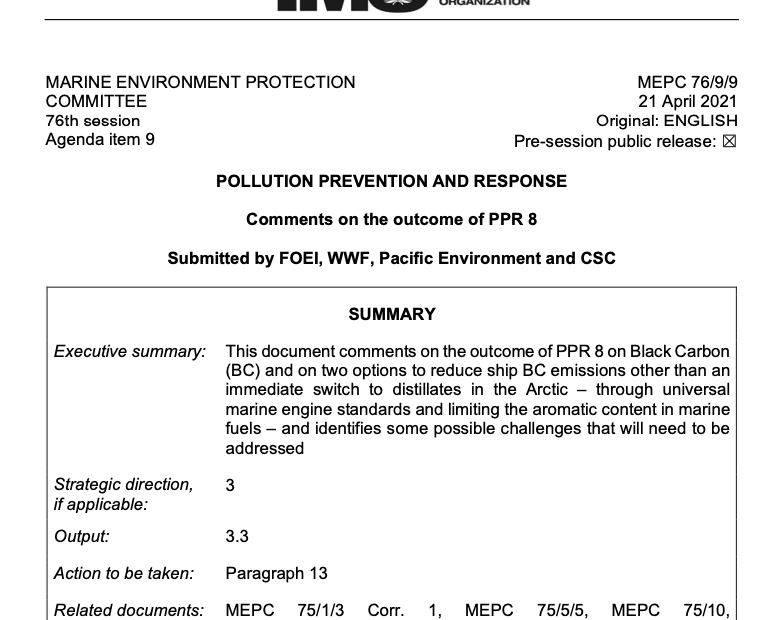 MEPC 76-9-9 - Comments on the outcome of PPR 8